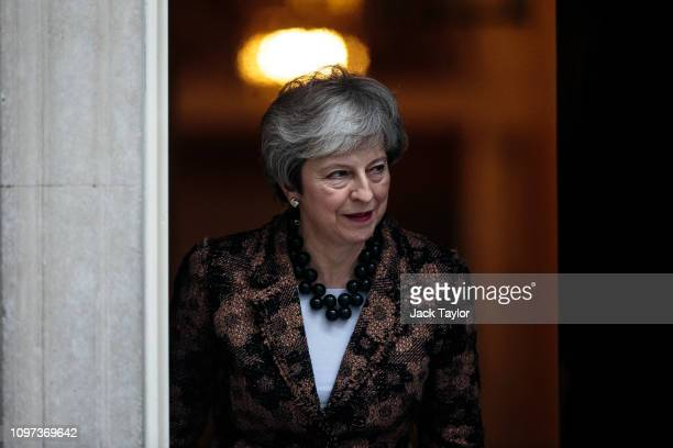Theresa May steps out of Number 10 to greet Prime Minister of New Zealand Jacinda Ardern on January 21 2019 in London England Britain is one of New...