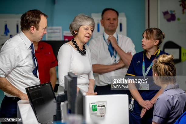 Theresa May talks to staff at 'Institute in the Park' at Alder Hey Children's NHS Foundation Trust on January 7 2019 in Liverpool England The Prime...