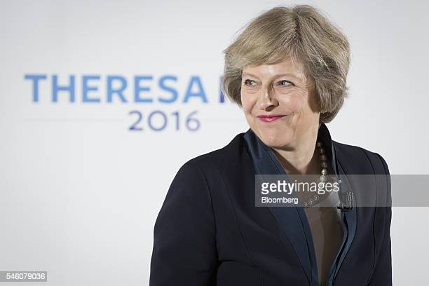 Theresa May UK home secretary reacts during a news conference in Birmingham UK on Monday July 11 2016 May pledged to crack down on corporate...