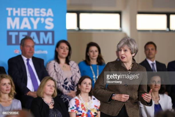 Theresa May UK prime minister and leader of the Conservative Party gestures as she speaks at a UK general election campaign event in Harrow in London...