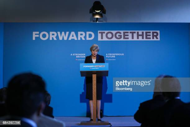 Theresa May UK prime minister and leader of the Conservative Party speaks during the launch of the party's general election manifesto at Dean Clough...
