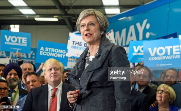 Theresa May UK prime minister and leader of the Conservative Party speaks at a generalelection campaign event in Slough UK on Tuesday June 6 2017...
