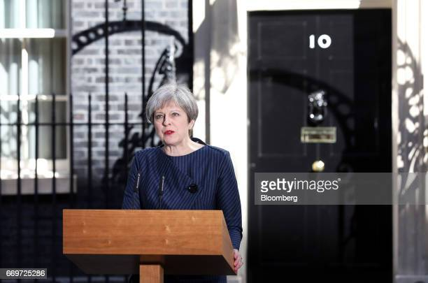 Theresa May UK prime minister announces a general election outside 10 Downing Street in London UK on Tuesday April 18 2017 May said she will seek an...