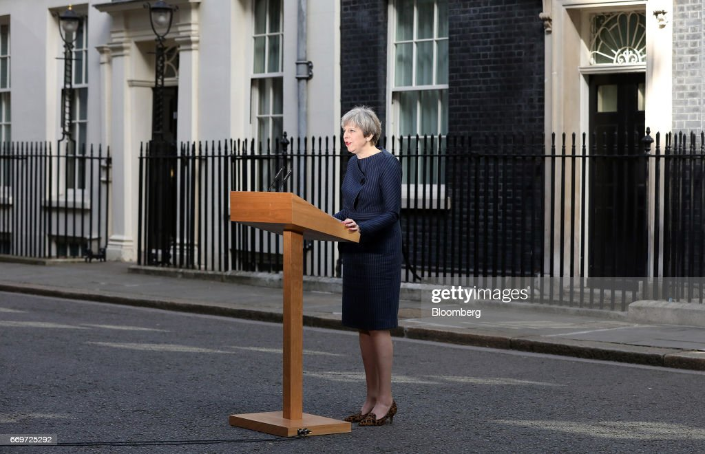 Theresa May, U.K. prime minister, announces a general election outside 10 Downing Street in London, U.K., on Tuesday, April 18, 2017. May said she will seek an early election on June 8, in an unexpected gamble aimed at strengthening her hand going into talks on leaving the European Union. Photographer: Chris Ratcliffe/Bloomberg via Getty Images