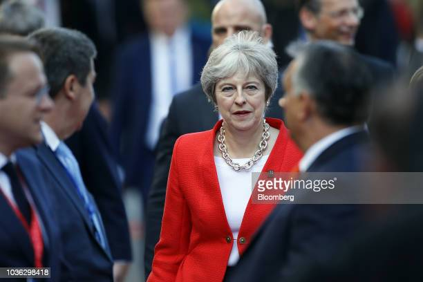 Theresa May UK prime minister gestures as she speaks during a news conference at an informal meeting of European Union leaders in Salzburg Austria on...
