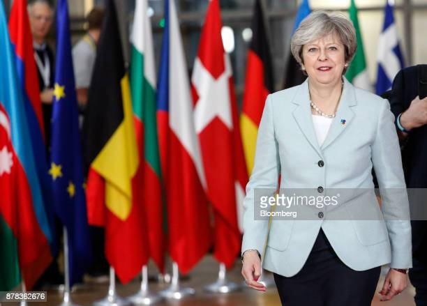 Theresa May UK prime minister arrives at the Eastern Partnership Summit inside the Europa building in Brussels Belgium on Friday Nov 24 2017 May...