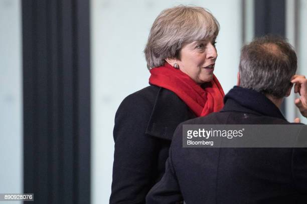 Theresa May UK prime minister arrives at the One Planet Summit in Paris France on Tuesday Dec 12 2017 French President Emmanuel Macron hosts at least...