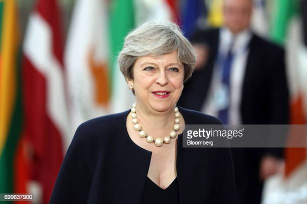 Theresa May, U.K. Prime minister, arrives for a European Union leaders summit at the Europa building in Brussels, Belgium, on Thursday, June 22,...