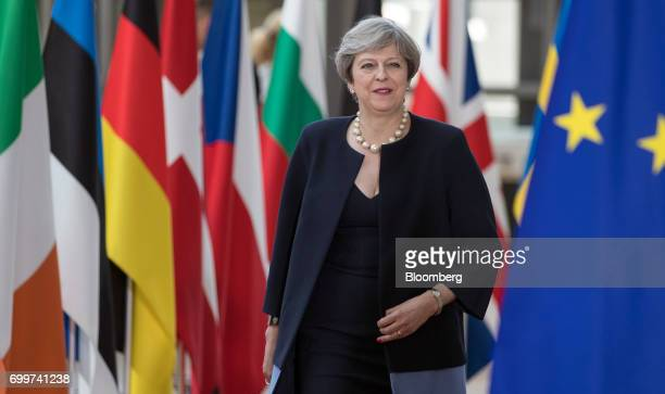 Theresa May UK prime minister arrives for a European Union leaders summit at the Europa building in Brussels Belgium on Thursday June 22 2017 EU...