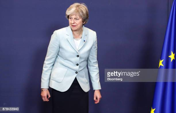 Theresa May UK prime minister arrives for a family photo session at the Eastern Partnership Summit inside the Europa building in Brussels Belgium on...