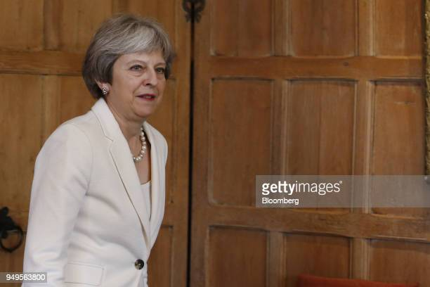 Theresa May UK prime minister arrives for a meeting with Malcolm Turnbull Australia's prime minister not pictured at Chequers Aylesbury UK on...