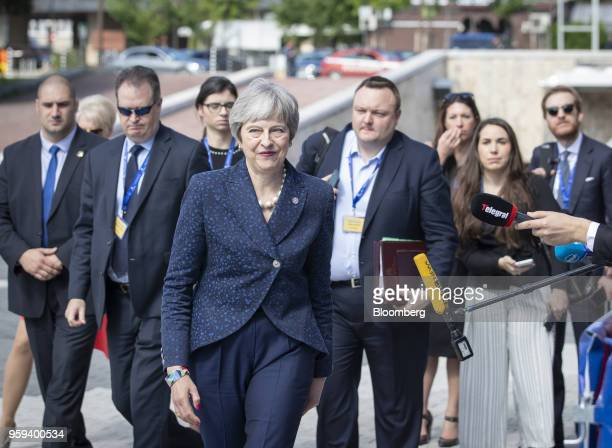 Theresa May UK prime minister arrives for a summit of European Union leaders in Sofia Bulgaria on Thursday May 17 2018 EU leaders presented a...