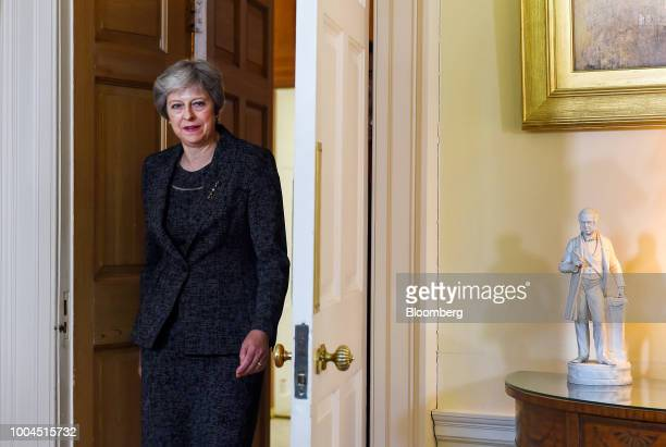 Theresa May UK prime minister arrives for her bilateral meeting with Qatars Emir Sheikh Tamim bin Hamad Al Thani inside number 10 Downing Street in...