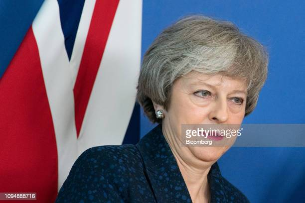 Theresa May UK prime minister arrives for talks in Brussels Belgium on Thursday Feb 7 2019 May heads to Brussels seeking legallybinding changes to...
