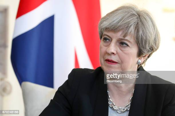 Theresa May UK prime minister attends a meeting with Ukraine President Petro Poroshenko inside number 10 Downing Street in London UK on Wednesday...