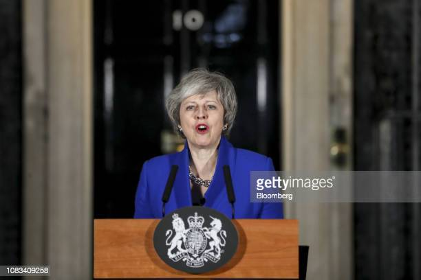 Theresa May UK prime minister delivers a speech after winning a confidence vote in Parliament outside number 10 Downing Street in London UK on...