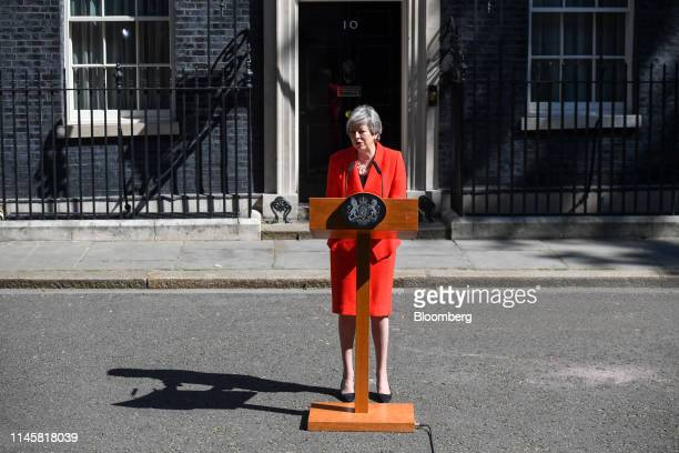 Theresa May UK prime minister delivers a speech announcing her resignation outside number 10 Downing Street in London UK on Friday May 24 2019...