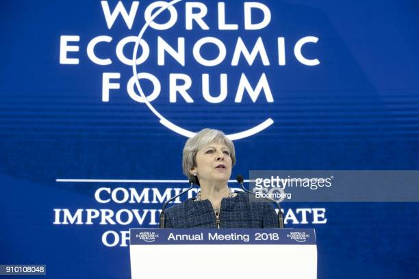 Theresa May UK prime minister delivers a speech during a special session on day three of the World Economic Forum in Davos Switzerland on Thursday...