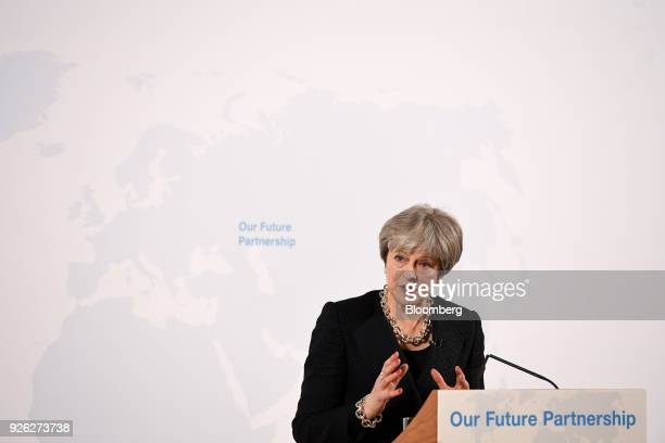 Theresa May UK prime minister delivers a speech on Brexit at Mansion House in London UK on Friday March 2 2018 The UK prime minister is under...