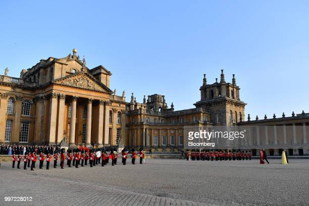 Theresa May UK prime minister from left US President Donald Trump US First Lady Melania Trump and Philip May husband of May arrive at Blenheim Palace...