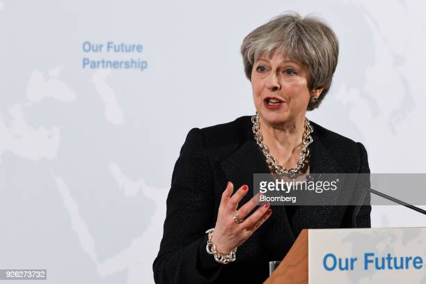 Theresa May UK prime minister gestures as she delivers a speech on Brexit at Mansion House in London UK on Friday March 2 2018 The UK prime minister...