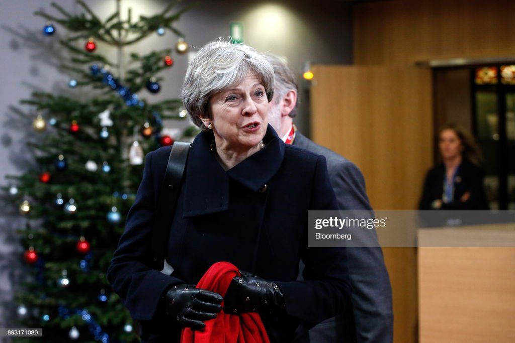 Theresa May, U.K. prime minister, leaves after attending a European Union (EU) leaders summit at the Europa Building in Brussels, Belgium, early on Friday, Dec. 15, 2017. May asked European leaders to be creative and to persevere to reach a deal when Brexit negotiations move on to trade. Photographer: Dario Pignatelli/Bloomberg via Getty Images