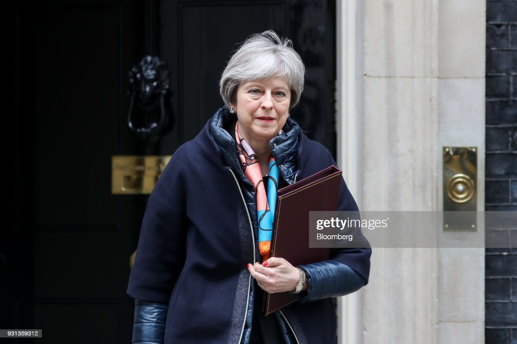 Theresa May, U.K. prime minister, leaves number 10 Downing Street to listen to the Spring Statement in Parliament in London, U.K., on Tuesday, March 13, 2018. This yearU.K. Chancellor of the Exchequer Philip Hammondhas decided to do things differently, moving the main Budget announcement to the Autumn and reducing the Spring Statement one to a handful of forecasts on the shape of the economy that will last less than half an hour. Photographer: Simon Dawson/Bloomberg via Getty Images