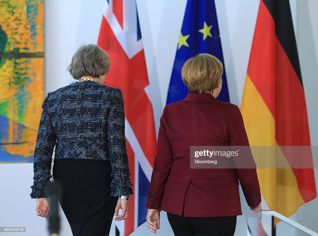 Germany's Chancellor Angela Merkel And U.K. Prime Minister Theresa May Hold News Conference : News Photo