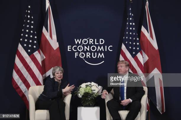 Theresa May UK prime minister left and US President Donald Trump speak during a bilateral meeting on day three of the World Economic Forum in Davos...