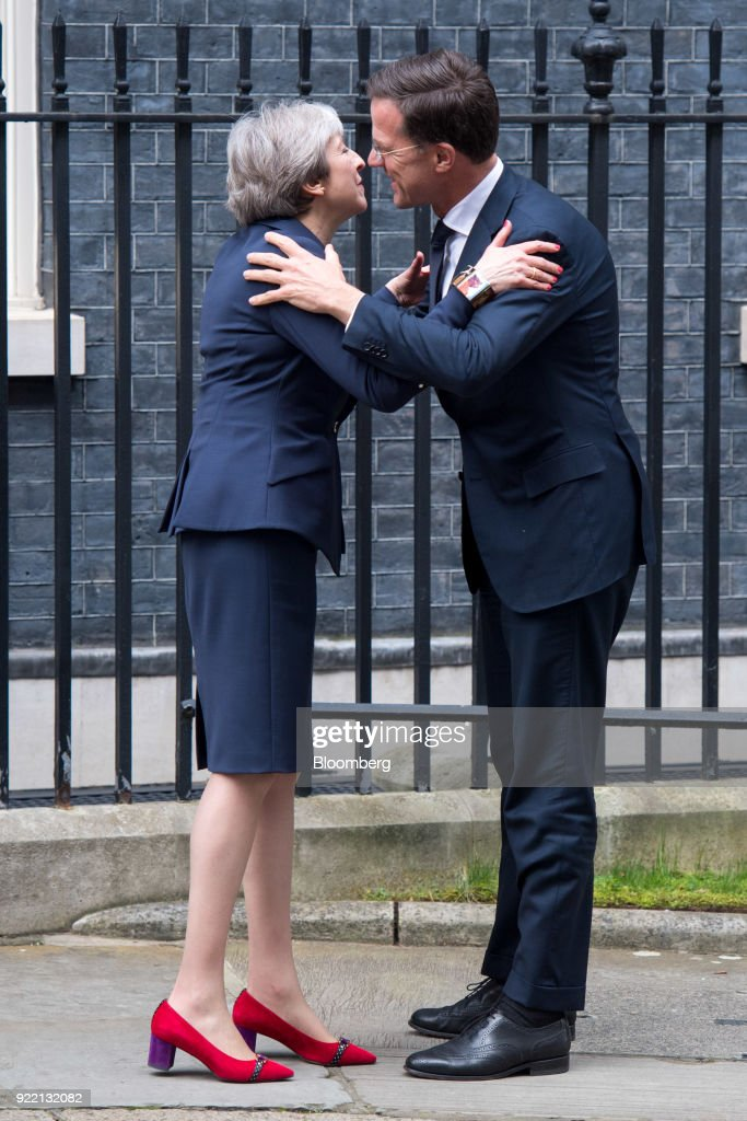 U.K. Prime Minister Theresa May Welcomes Netherlands Prime Minister Mark Rutte : News Photo