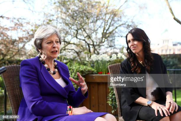 Theresa May UK prime minister left speaks to Jacinda Ardern New Zealand's prime minster during a bilateral meeting in the gardens of number 10...