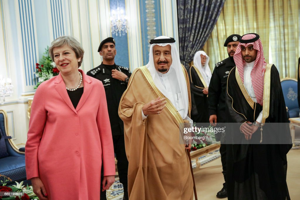 U.K. Prime Minister Theresa May Visits Saudi Arabia To Promote Trade And Security : News Photo