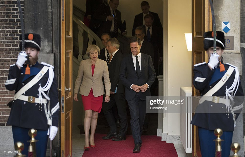 U.K. Prime Minister Theresa May Meets Dutch Prime Minister Mark Rutte : News Photo