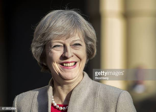 Theresa May UK prime minister looks on as she arrives for a meeting with Mark Rutte Dutch prime minister not pictured at the Ministry of General...