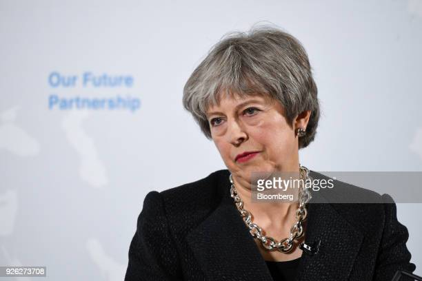 Theresa May UK prime minister pauses as she takes questions after delivering a speech on Brexit at Mansion House in London UK on Friday March 2 2018...