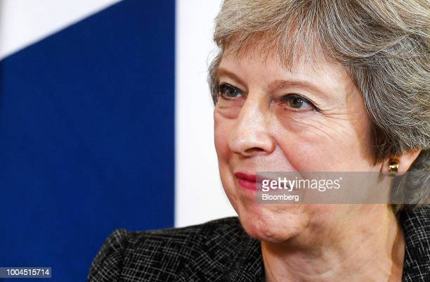 Theresa May UK prime minister pauses during her bilateral meeting with Qatars Emir Sheikh Tamim bin Hamad Al Thani inside number 10 Downing Street in...