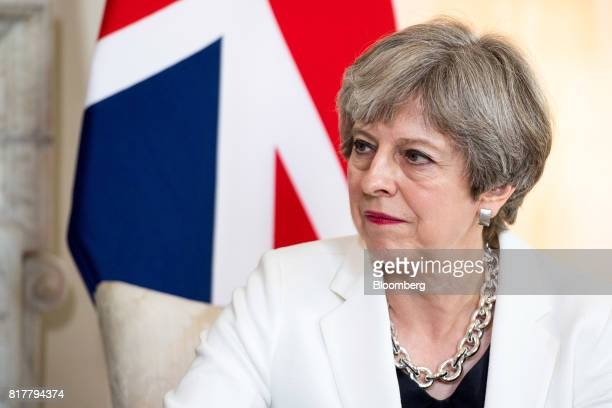 Theresa May UK prime minister pauses during her bilateral meeting with Estonia's Prime Minister Juri Rata inside number 10 Downing Street in London...