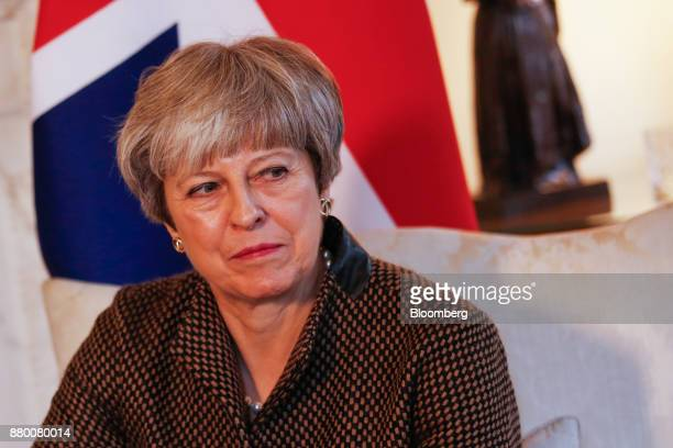 Theresa May UK prime minister pauses during her bilateral meeting with Binali Yildirim Turkey's prime minister inside number 10 Downing Street in...