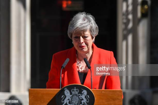 Theresa May, U.K. Prime minister, reacts as she delivers a speech announcing her resignation outside number 10 Downing Street in London, U.K., on...