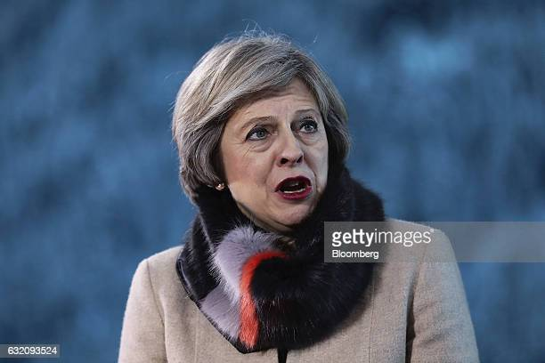 Theresa May UK prime minister reacts during a Bloomberg Television interview at the World Economic Forum in Davos Switzerland on Thursday Jan 19 2017...