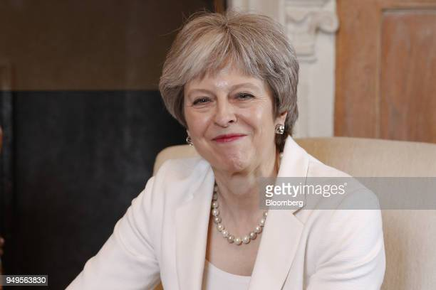 Theresa May UK prime minister reacts during a meeting with Malcolm Turnbull Australia's prime minister not pictured at Chequers Aylesbury UK on...