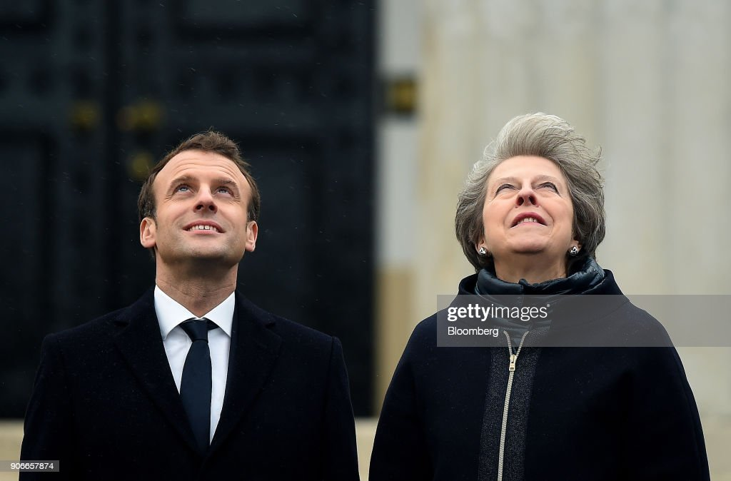 U.K. Prime Minister Theresa May Host France's President Emmanuel Macron At The U.K.-France Summit : News Photo