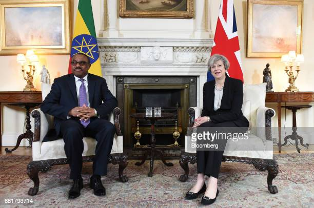 Theresa May UK prime minister right attends a bilateral meeting with Hailemariam Desalegn Ethiopia's prime minister inside number 10 Downing Street...
