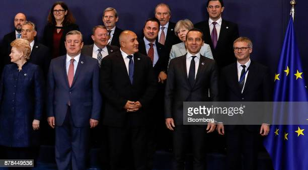 Theresa May UK prime minister second row right stands behind Christian Kern Austria's chancellor as they pose with European Union and Eastern...
