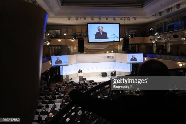 Theresa May UK prime minister speaks at the Munich Security Conference in Munich Germany on Saturday Feb 17 2018 May proposed keeping Britain in...