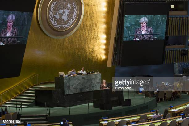 Theresa May UK prime minister speaks during the UN General Assembly meeting in New York US on Wednesday Sept 20 2017 Mayis said to be weighing...