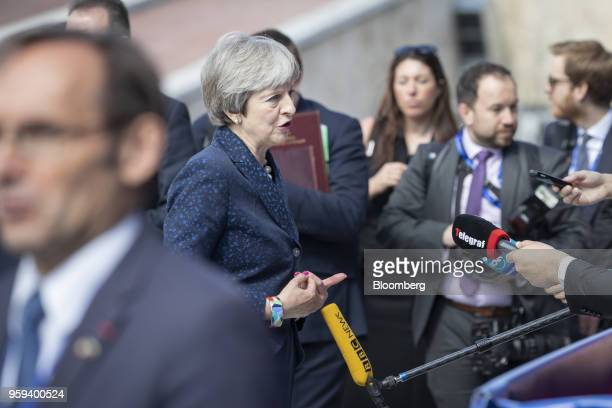 Theresa May UK prime minister speaks to journalists as she arrives for a summit of European Union leaders in Sofia Bulgaria on Thursday May 17 2018...