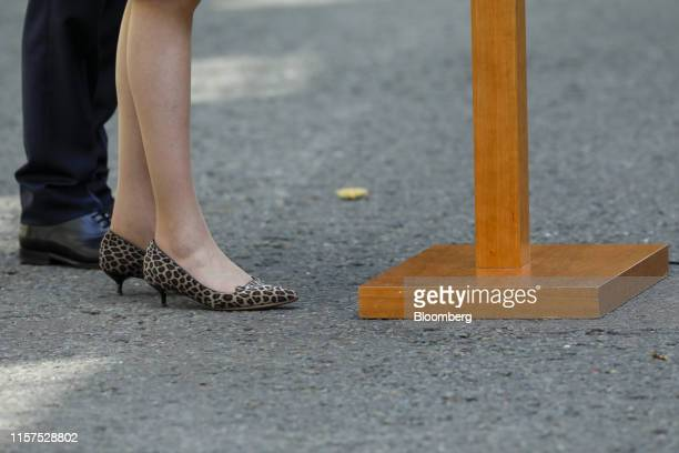 Theresa May UK prime minister stands in leopardprint kittenheel shoes as she makes a statement before departing number 10 Downing Street in London UK...