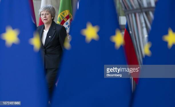 Theresa May UK prime minster arrives at a European Union leaders summit in Brussels Belgium on Thursday Dec 13 2018 May staggers on to Brussels on...