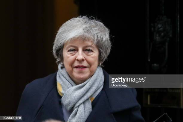 Theresa May UK prime minster departs number 10 Downing Street in London UK on Tuesday Jan 15 2019 May is set to see her Brexit deal rejected in the...